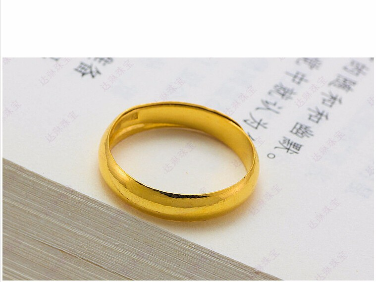 Vente chaude authentique 999 solide 24K bague en or jaune hommes anneau lisse 4.02g