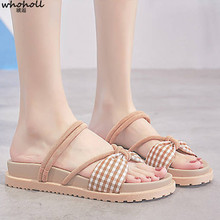 WHOHOLL Women Flat Sandals Femme Platform Gladiator Summer Beach Shoes Open Toe Fashion Bow Roman  Ladies
