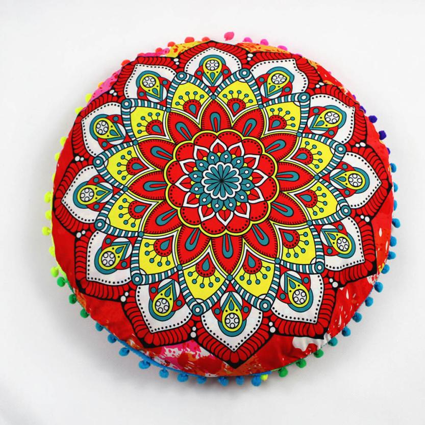Bohemian Round Cover of Pillow Indian Mandala Floor Pillows Round Bohemian Cushion Pillows Cover Case Cushions Supplies On Sale