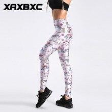 55eaede33f542b C4024 Light Pink Cartoon Unicorn Rainbow Print Push Up Slim Tights Fitness  Women Jogging GYM Yoga