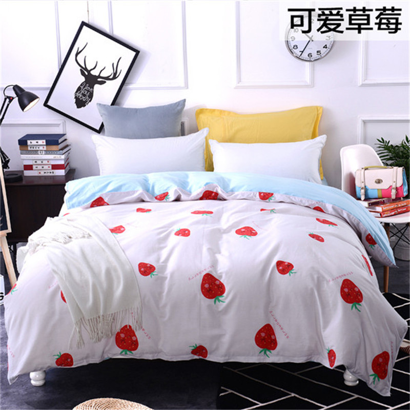 Cartton Children Blue Pink White Bedding Strawberry Print 100%Cotton Twin Full Queen King Size Duvet Cover Bedclothes Girl/adult