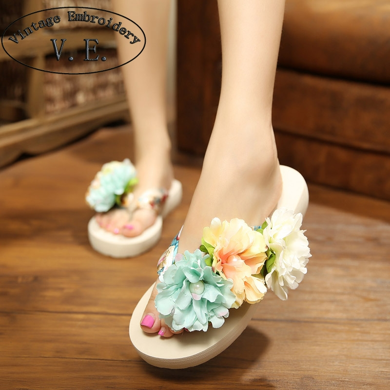 Bohemia Flowers Woman Slippers Beach Flip Flops Shoes Summer Style Slides Slip- Resistant Slippers Platform Shoes Woman yeerfa 2017 wedges sandals beach flowers flip flops slip on flats platform shoes woman casual creepers pearl slippers size 35 41