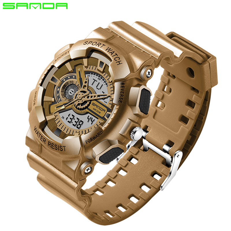 1bfc45a3f SANDA Choque Marca de Luxo Mens Quartz Analógico Digital Homens Relógio G  Estilo Moda Esporte Militar Relógios Relógio Relogio masculino Quente
