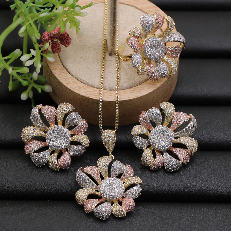 Lanyika Jewelry Set Luxury Trendy Blooming Flower Micro Paved Cubic Zircon Necklace with Earrings and Ring
