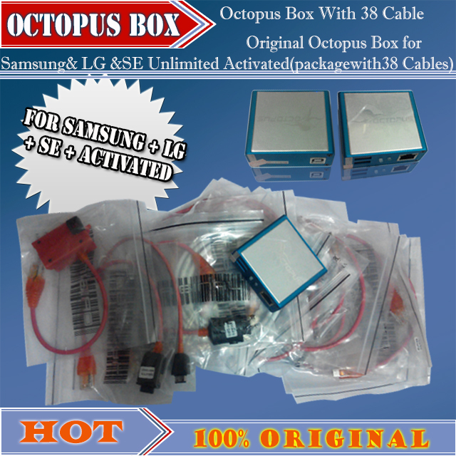 100% original new Octopus Box for Samsung& LG &SE Unlimited Activated(packagewith38 Cables)ForS5 N900T&N900A&N9005