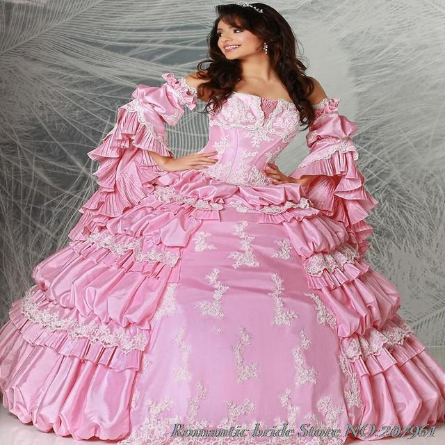 2017 venta Caliente Quinceanera Vestidos de Tafetán con Apliques bola Rosa vestido vestido 16 anos 2017 de 16 años de la muchacha de La Manga envío
