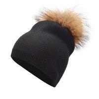 Nouveau chapeau d'hiver Modèles Féminins Couleur Pure Laine Chapeau Chaud raton laveur Cheveux Casquette Cachemire Tricoté Chapeau Skullies Adulte De Laine sauvage