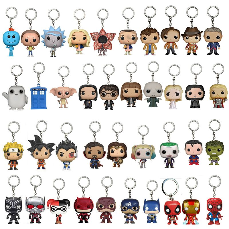 POP Keychain With Original Box Rick Morty Stranger Things Marvel Doctor Who Harley Quinn Dragon Ball Super hero Action Figure