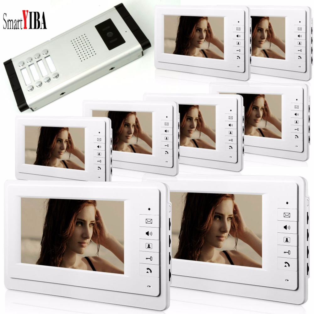 SmartYIBA 7Inch TFT LCD Wired Video Intercom Door Phone Doorbell Home Security Camera Intercom System For 8 Units Apartment