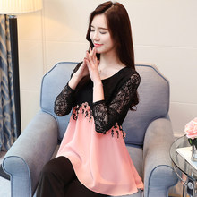 9b0e62f3ac109 Plus Size 2018 New Autumn Women Shirts Full Sleeve Lace Chiffon Slim Fat  Blouse Shirt White Pink Red 8950