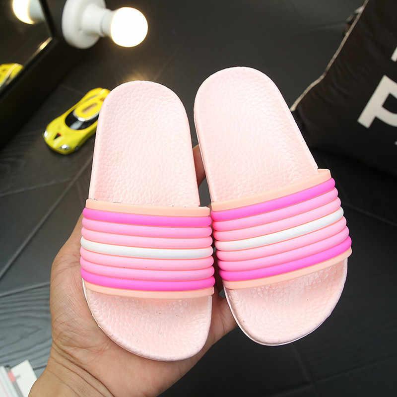 Slippers Kids Voor Meisjes Gestreepte Kleurrijke Thuis Slippers Zomer Kinderen Sandalen Korea Flip Flop Sandalen Jongens Antislip Bad schoenen