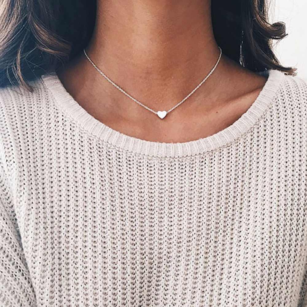 Venda quente Simples Mulheres coração de Ouro Corrente de prata Gargantilha Colar Collana Jóias Bijoux Moda Praia Declaração Jóias #250975