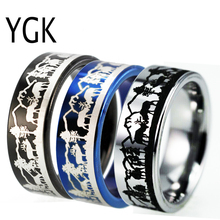 YGK Jewelry Mens Tungsten Wedding Ring For Women Fashion Engagement Animal Buck Deer Stag Mountain Anniversary