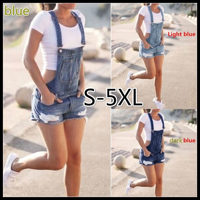 Women Fashion Street Style Plus Size Hole Cowboy Shorts Strap Denim Short Bib Overalls   Jumpsuits   and Rompers Playsuit S-5XL