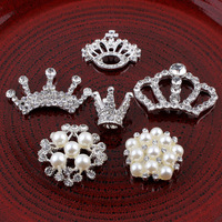 Wholesale new alloy crown flower design hand-made crystals pearl fashion button DIY decorative ornament jewelry accessories 12pc