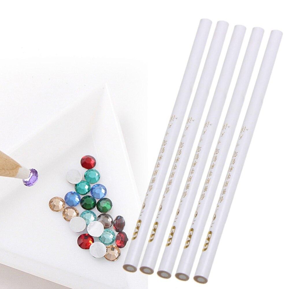 Nail Art Painter 5PCS White Nail Art Rhinestones Gems Picking 3D ...
