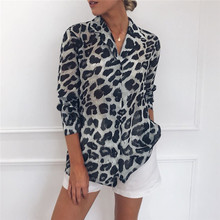 Summer Chiffon Blouse Long Sleeve Sexy Leopard Print Shirt V Neck Work Office button Tunic Casual Plus Size streetwear 2019 new
