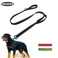 VUGSUCE Double Handle Nylon Dog Leash Black 3M Reflective Pet Leash For Puppy Medium Large Dogs