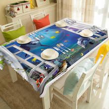Customized Round Square Blue sea Scenery print Luxury Decorative 3D Table Cloth Dinner Table Cloth Cover Polyester fabric(China)