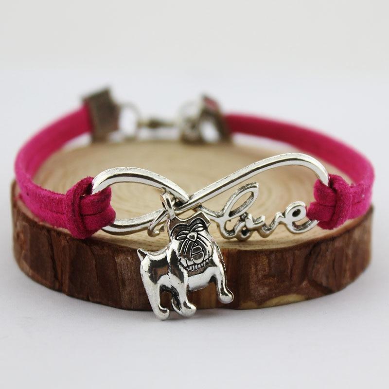 Careful Unisex Hand-woven Hot Sale Unlimited Love Pet Charm Bulldog Bracelet Pendant Charm Bracelet Multi Color Choose From Mixed Color