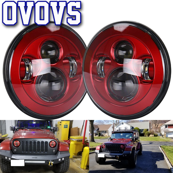 """7 inch Round LED Headlights With Red Base 7"""" Phare a Led For Jeep Wrangler JK TJ LJ"""
