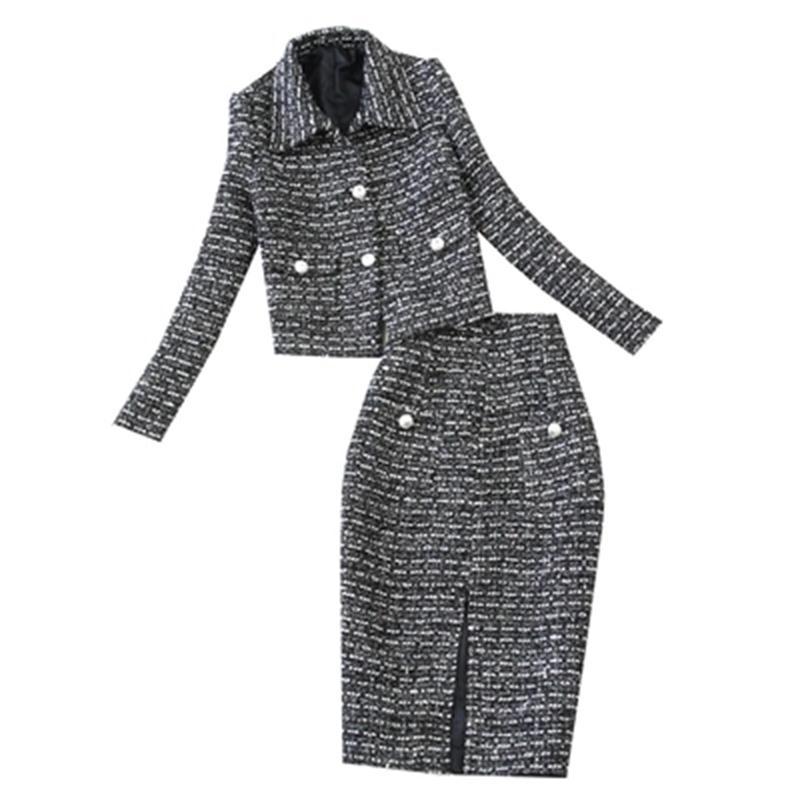 Fashion Plaid Suit Female Large Size Autumn New Thicken Woollen Coat Jacket + Bag Hip Skirt Two-piece Suit Women
