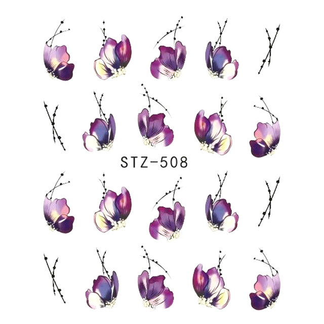 1pcs Nail Sticker Butterfly Flower Water Transfer Decal Sliders for Nail Art Decoration Tattoo Manicure Wraps Tools Tip JISTZ508 2