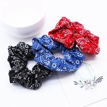 Xugar Hair Accessories Ring Print Ponytail Holder Rope for Women Girls Scrunchie Fashion Bandana Ties