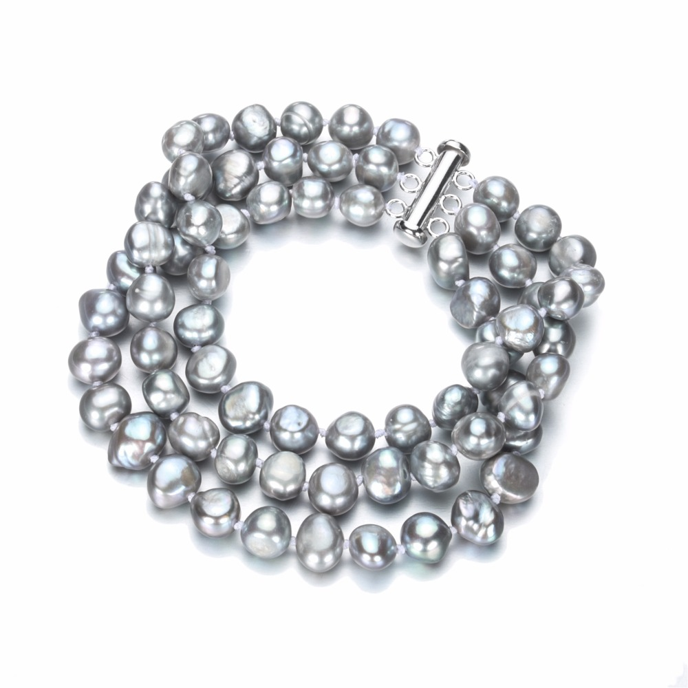 """Buy SNH 8mm AA grey color baroque freshwater pearl bracelet 3rows 7.5"""" cultured natural freshwater bracelet free shipping for $14.75 in AliExpress store"""