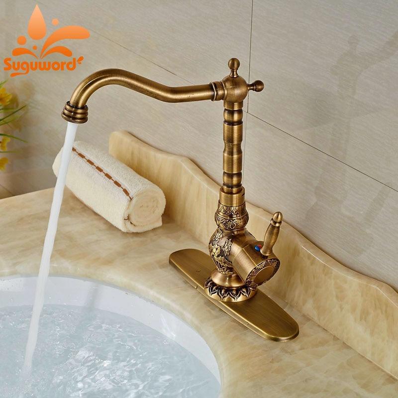 Brass Antique Bathroom Sink Faucet Deck Mount Swivel Spout Mixer Tap W/8