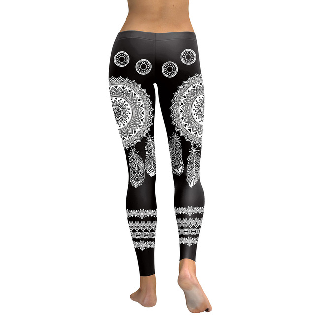 JIGERJOGER 2017 New Black round circle Mandala Art American Indians Dreamcatcher Digital print Leggings Plus size Women's pants