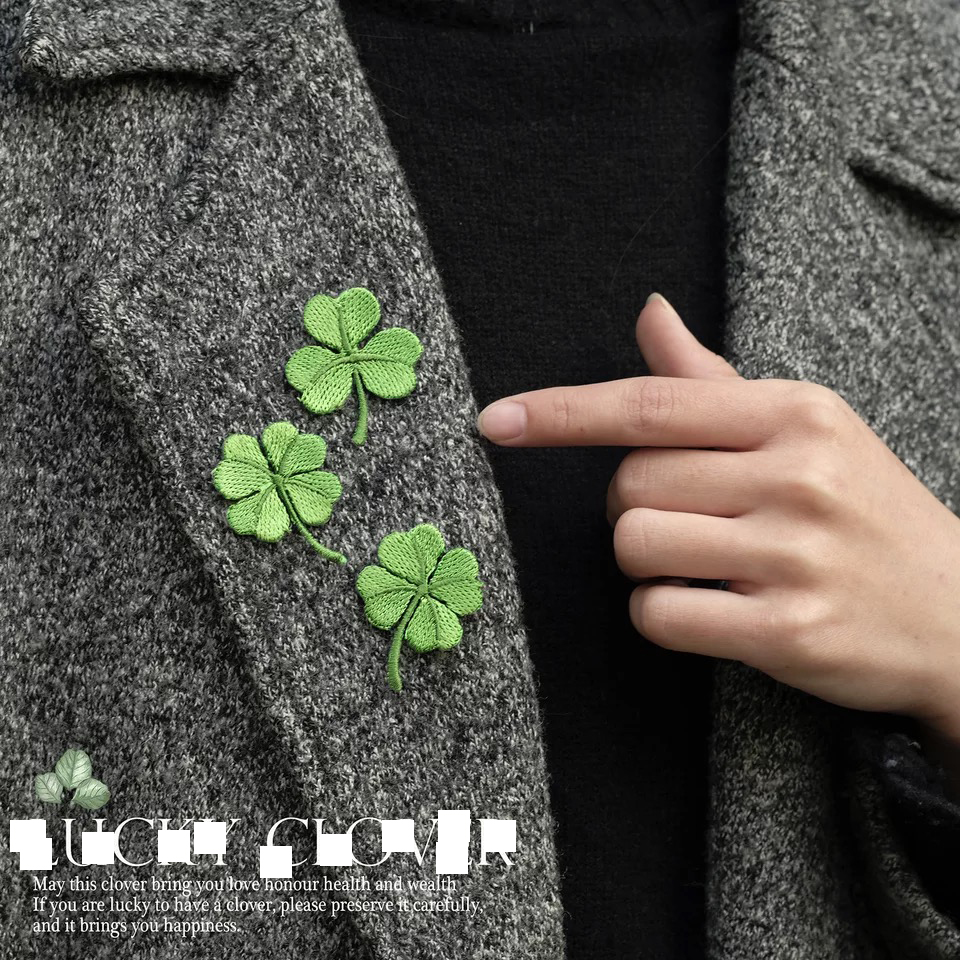 Clover Botany Embroidery DIY Decorative patch Cloth sticker Dress hole Clothing Accessories