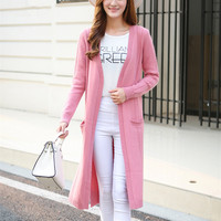 Новые модные 100% козья кашемир твист вязать женские длинные свитер; кардиган; пальто низ открытые бежевый 5 видов цветов M 2XL