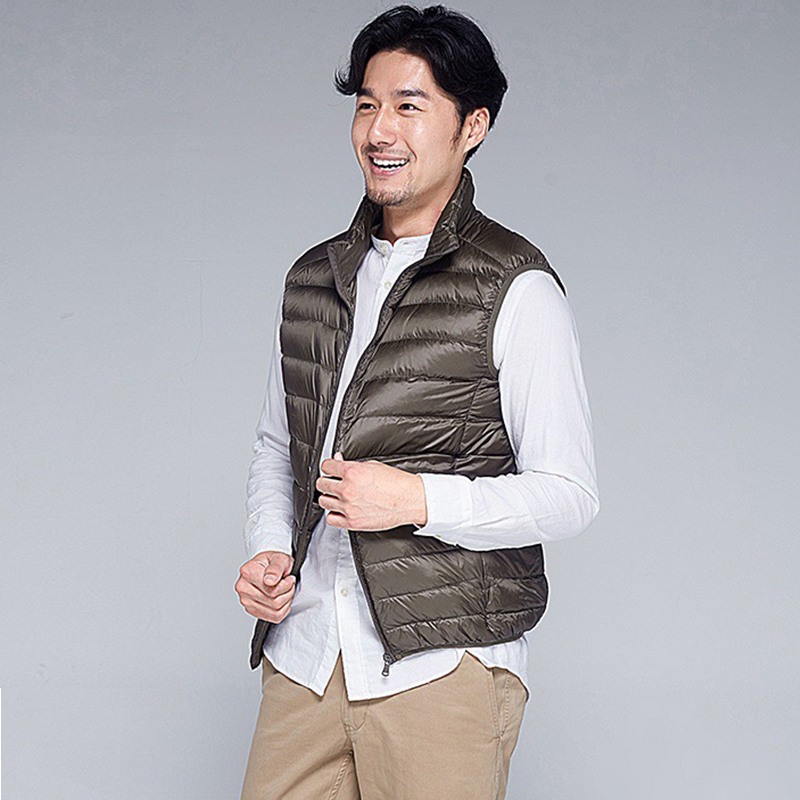 JUNGLE ZONE 2018 Sleeveless Jacket Winter Ultralight White Duck Down Male Slim Vest