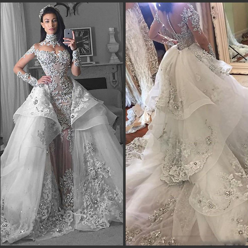 Glamorous Long Sleeves Tulle High Neck 2018 Wedding Gowns Appliques Bridal Gowns With Detachable Train Vestido Casamento