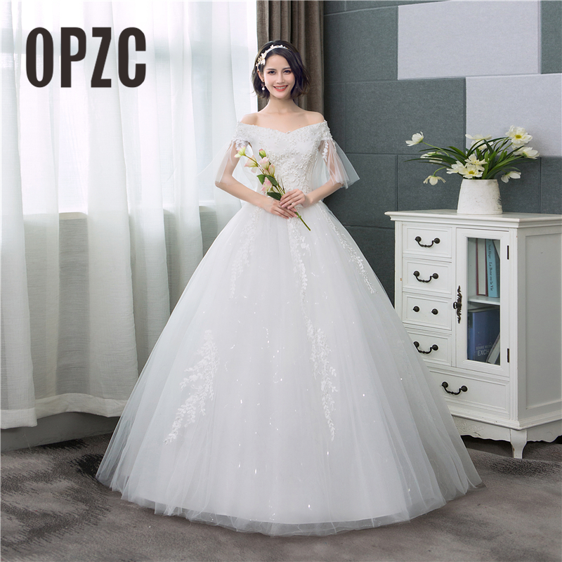 880753ed37d Real Photo Korean Lace Sleeve Boat Neck Off the Shoulder Ball Gown Wedding  Dress 2018New Arrive