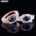 Women Natural Sapphire Stone Ring Genuine Solid Silver Gem Jewelry Rings Birthstone