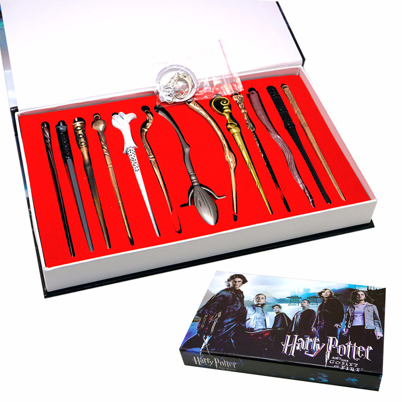 13pcs/lot Harry Potter Hermione Dumbledore Sirius Voldemort Fleur Magic Wands Cosplay Kids Toys Necklace Keychain Gifts Box