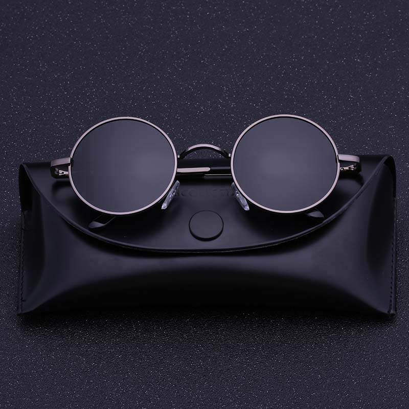 1ad22c163f Black Metal Polarized Sunglasses Gothic Steampunk Sunglasses Mens Womens  Fashion Retro Small Vintage Round Eyewear Shades-in Sunglasses from Apparel  ...