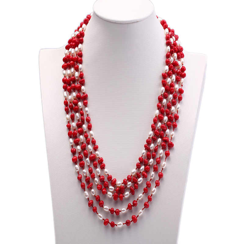 JYX Pearl Necklace 5 strand White Freshwater Pearl and Red Coral Necklace usa series red white and blue red coral white lazing 5 wraps leather cord bracelet