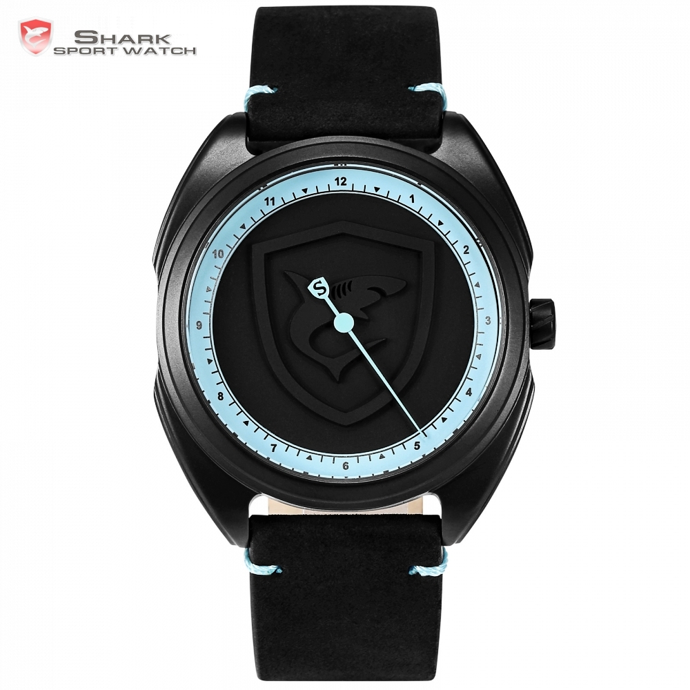 Collared Carpet Shark Sport Watch 3D Blue Dial Unique One Hour Hand Design Leather Band Waterproof