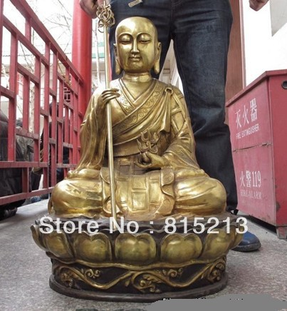 Bi00389 26 Tibet Buddhism Bronze Copper Gild Ksitigarbha Bodhisattva Jizo Buddha Statue