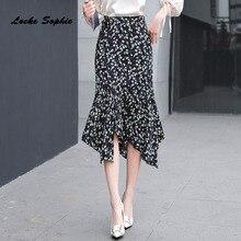 1pcs Hight waist skirts Womens Plus size 2019 Winter Fashion Chiffon Irregular Floral skirt Ladies Skinny girls