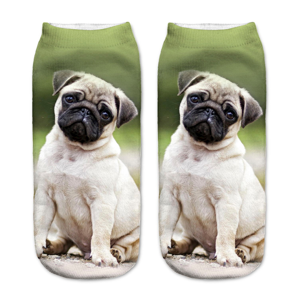 RUNNING CHICK Pug Dogs Print Polyester Women Ankle Socks Wholesales