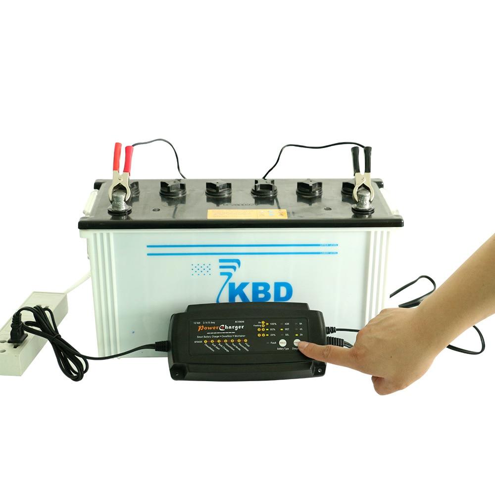 Smart Car <font><b>Battery</b></font> Charger <font><b>12V</b></font>/24V <font><b>Battery</b></font> Charger Maintainer &#038; <font><b>Desulfator</b></font> 2A/4A/8A or 1A/2A/4A AGM GEL WET <font><b>Battery</b></font> Charger US/EU