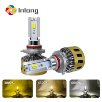 Inlong 2Pcs Tricolor 3000K 4300K 6000K Mini H4 LED Headlamp H7 10000LM H1 H9 H11 9005 9006 HB4 Car Headlight Bulbs Fog Light 12V