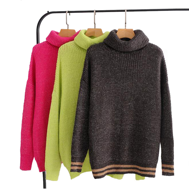 e02448c25abc8a Detail Feedback Questions about 2018 Autumn Winter Women Diver Turtleneck Pullover  Sweater Knit Loose Pullovers Female Cute Candy Color Thick Sweater on ...