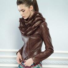 Leather jacket women Fur New Genuine leather coat Women o-neck Long Sleeve Slim Design Sheepskin Leather Clothing Short Coat