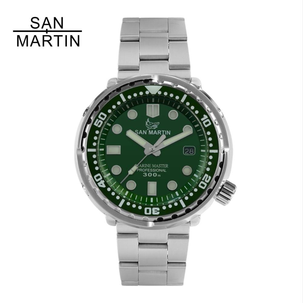 Reloj Automático de moda San Martin nuevo atún SBBN015 NH35 MOVIMIENTO DE ACERO INOXIDABLE reloj de buceo 300 Magua resistente bisel de cerámica-in Relojes mecánicos from Relojes de pulsera    1
