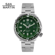 Сан Мартин Новый тунец SBBN015 модные автоматические часы NH35 движение нержавеющая сталь Дайвинг часы 300 mWater Resistant керамический Безель